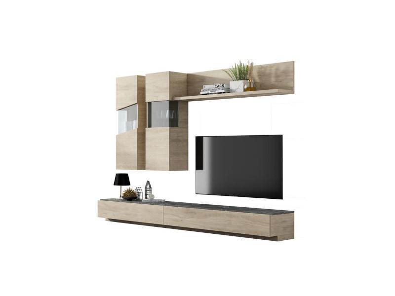 Composition meuble tv bois clair/marbre gris - camelia - l 270 x l 45 x h 180 - neuf