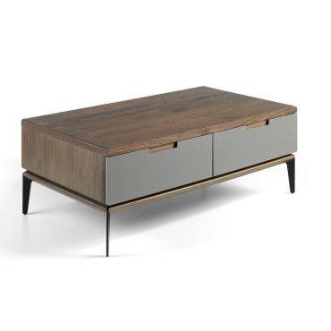 Tousmesmeubles Table basse 2 tiroirs VerreMétalNoyer