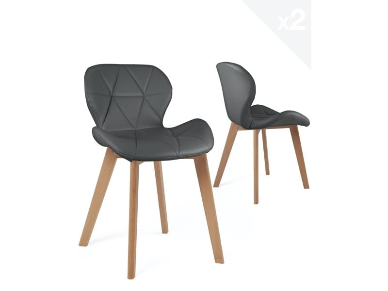 Lot de 2 chaises scandinaves design simili cuir FATI (gris) 674