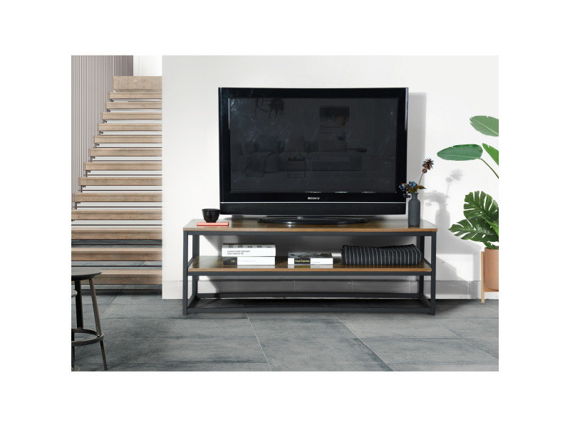 Meuble tv rectangulaire 2 couches bois foncé / noir