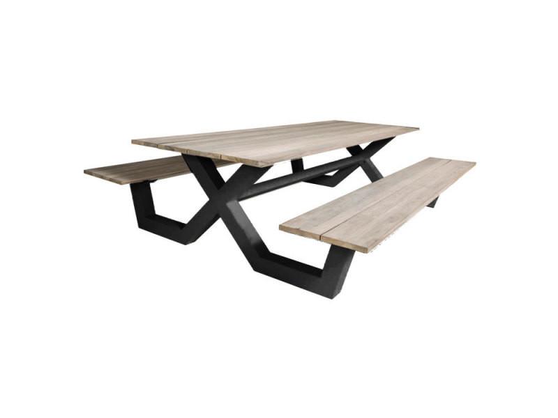 Table pique-nique alu anthracite et teck 220 x 100 cm swindon