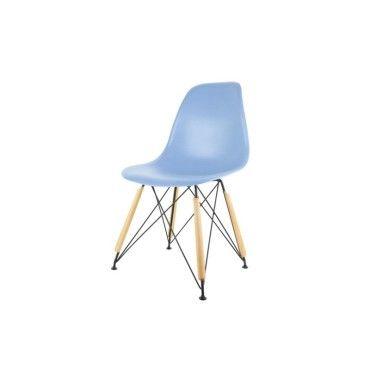 Chaise scandinave bleue pied m tal noir et bois vente de - Chaise pied metal ...