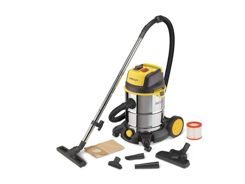 Aspirateur multifonctions eaux et poussières stanley 1600w prise 230v cuve inox 30l filtre hepa embouts sac