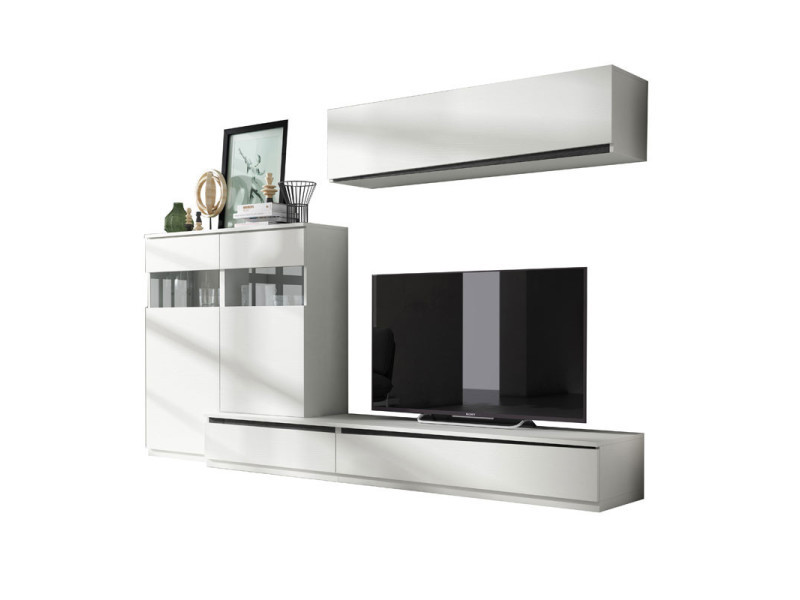 Composition meuble tv bois blanc/bois noir - camelia n°2 - l 285 x l 45 x h 180 - neuf