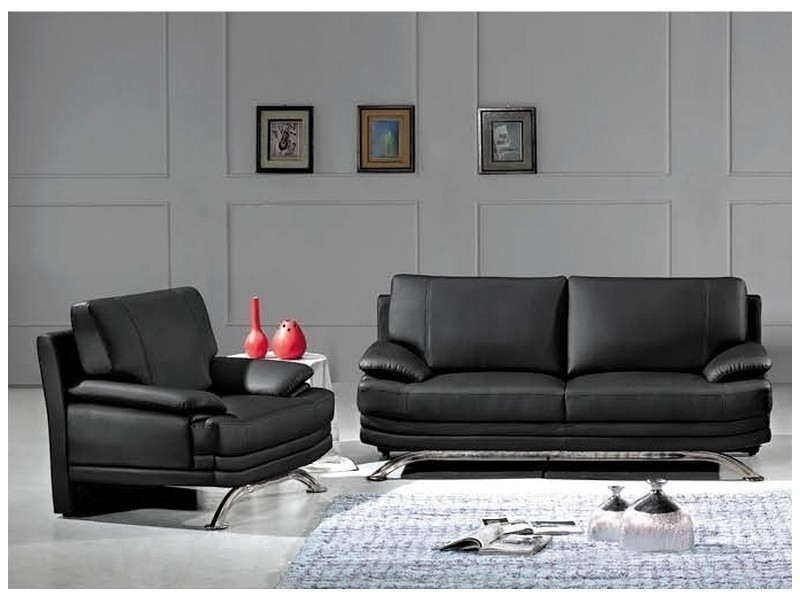 ensemble salon en cuir 3 2 places romeo conforama. Black Bedroom Furniture Sets. Home Design Ideas