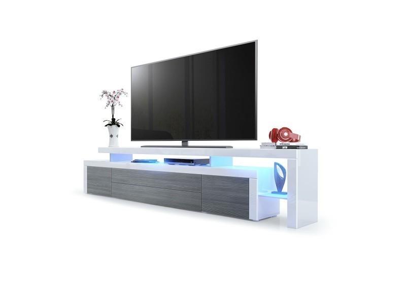 Meuble tv laqué blanc / avola-anthracite 227 cm avec led