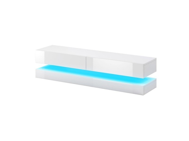 Meuble tv design suspendu fly 140 cm à 2 tiroirs, coloris blanc mat et blanc brillant brillant + led