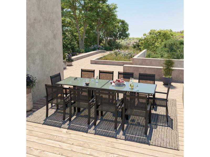 Table de jardin extensible aluminium 140/280cm + 10 fauteuils textilène noir - hara xl