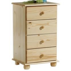Chiffonnier commode apothicaire 4 tiroirs pin massif vernis naturel