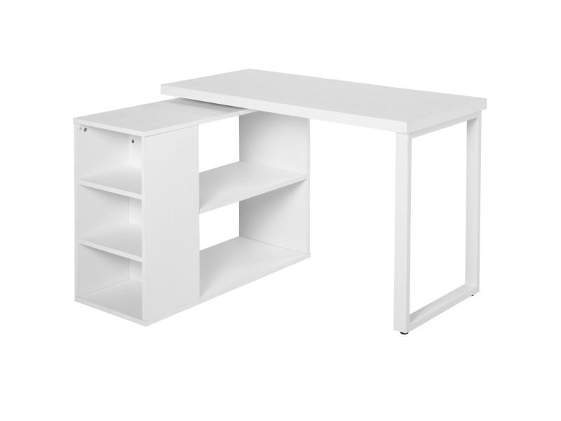 Bureau informatique table informatique modulable design contemporain pivotant 2 plateaux multi-rangements 120 x 108 x 76 cm blanc