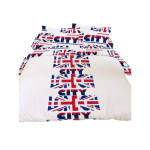 Housse de couette london city tricolore 220x240 + 2 taies