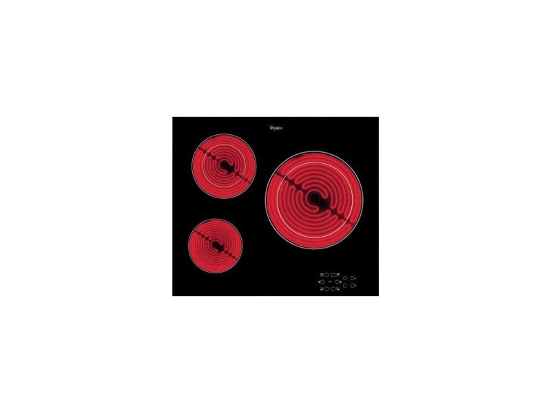 Table cuisson vitrocéramique, noire, 60cm, 3 foyers, commandes sensitives, 5700