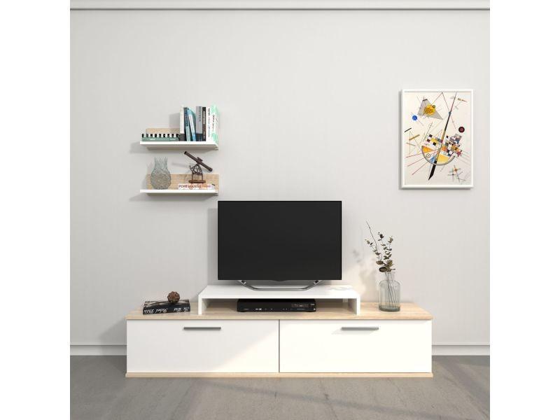 Meuble tv avec étagère design norma - l. 150 x h. 39 cm - blanc sonoma