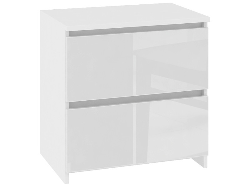 Shala - table de chevet contemporaine chambre 40x40x35 cm - 2 tiroirs larges - chevet - design moderne - blanc laqué