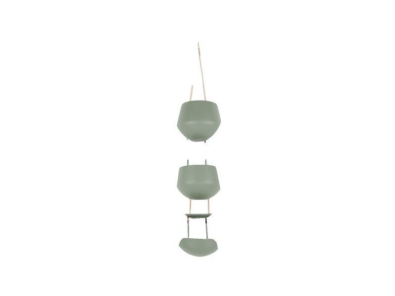 3 cache-pots suspendus skittlie - h. 65 cm - vert kaki