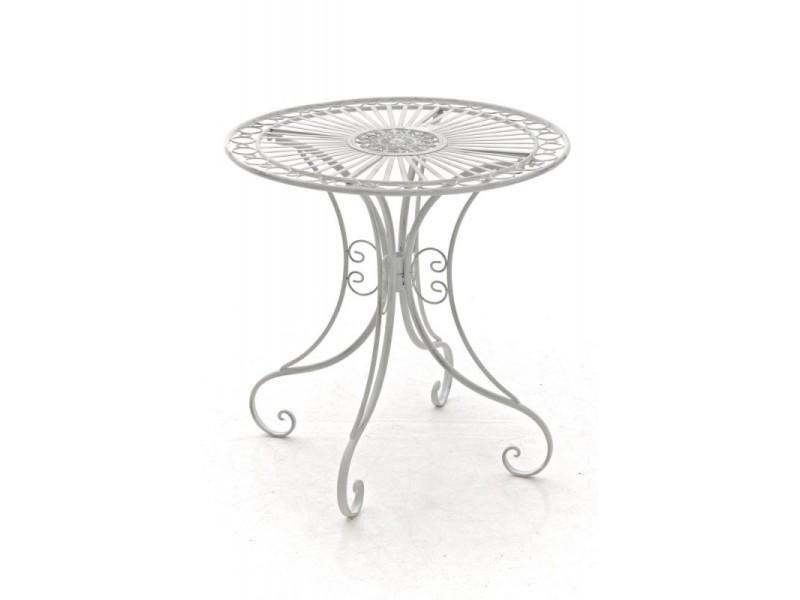 Table de jardin en fer forgé diamètre ø 70 cm blanc vieilli mdj10052 ...