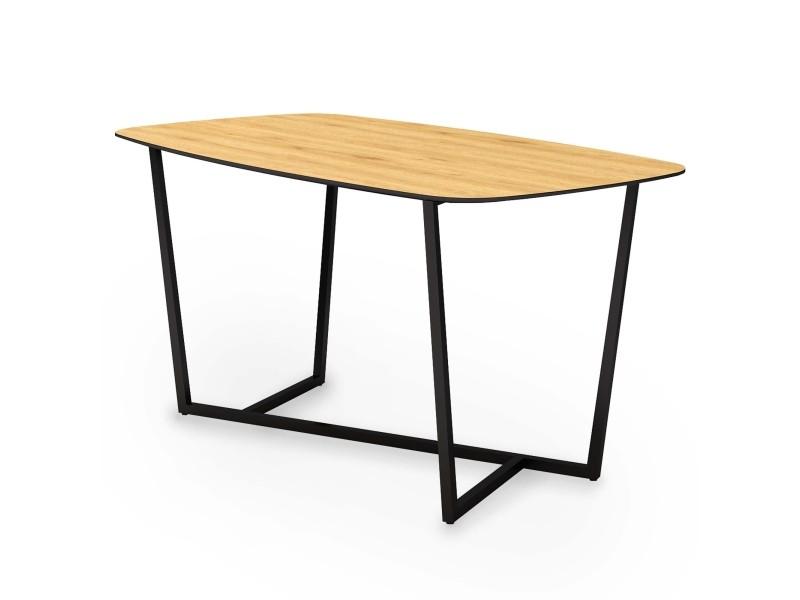 Table à manger design industriel en bois et métal noir 6 personnes alanis B008DT0104-TAB