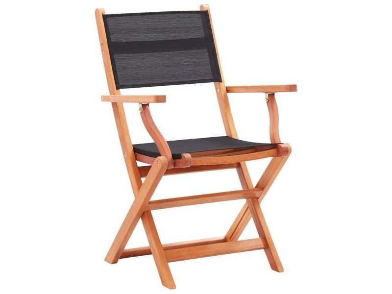 Vidaxl chaises pliables de jardin 4 pcs noir eucalyptus et textilène 48693