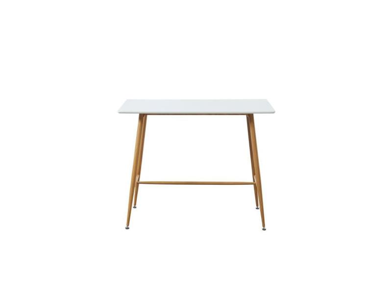 Alina table bar scandinave - blanc laqué satiné - l 120 x l 60 cm