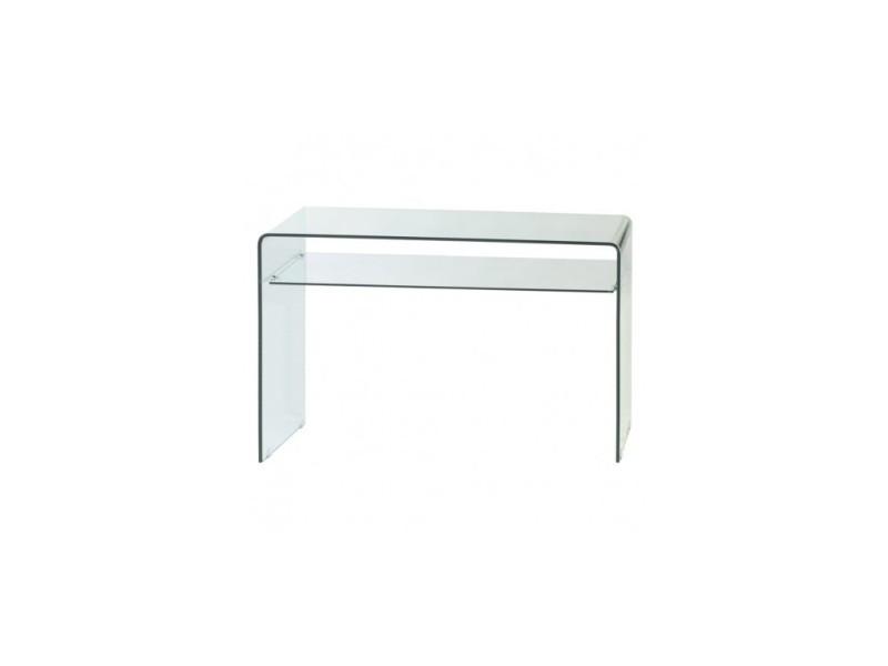 console design en verre deux plateaux transparente vente. Black Bedroom Furniture Sets. Home Design Ideas
