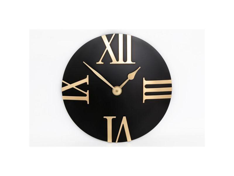 Horloge murale design eva - diam. 30,5 cm - noir et or