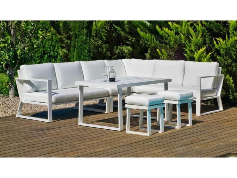 Ensemble salon sofa de jardin a manger bolon 30 en aluminium blanc coussins couleur anais blanc, hev31866 31866