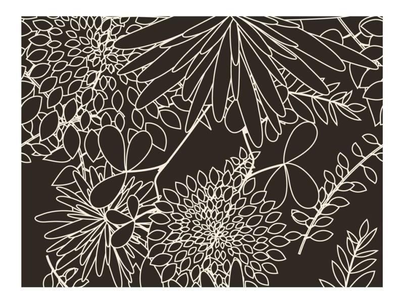 Papier peint - motif floral noir et blanc 300x231