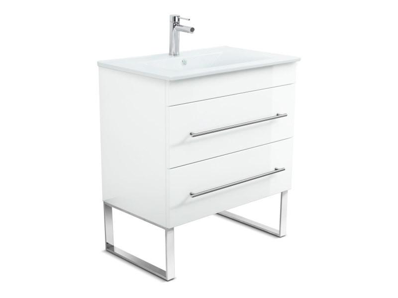 Meuble salle de bain casa infinity 750 blanc brillant à poser - Vente de Meuble et rangement ...
