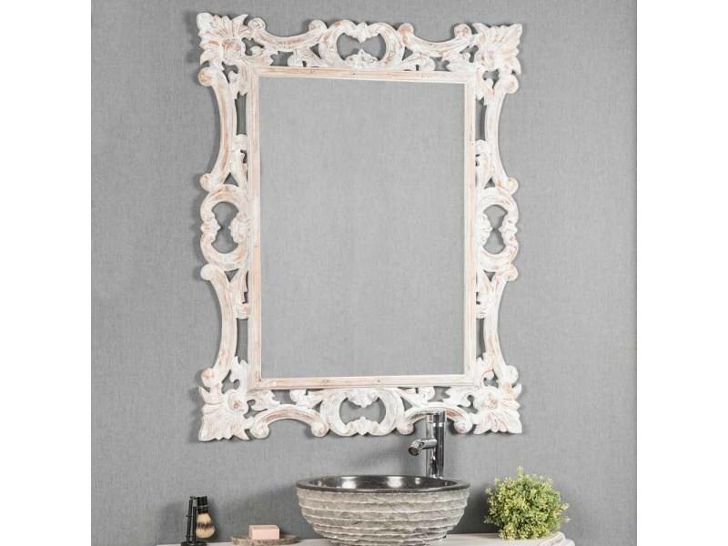 Miroir baroque en bois patin blanc cm x cm vente de miroir for Miroir baroque conforama