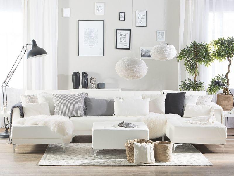 Canapé panoramique convertible en simili-cuir blanc 5 places avec pouf aberdeen 150493