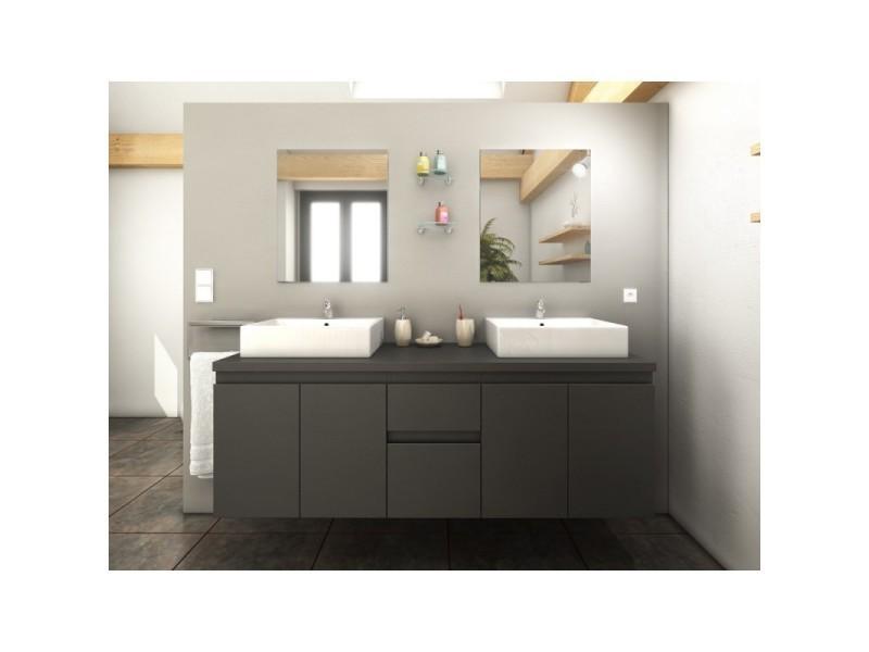 Meuble de salle de bain double vasque 150 cm gris mat - Meuble vasque salle de bain conforama ...