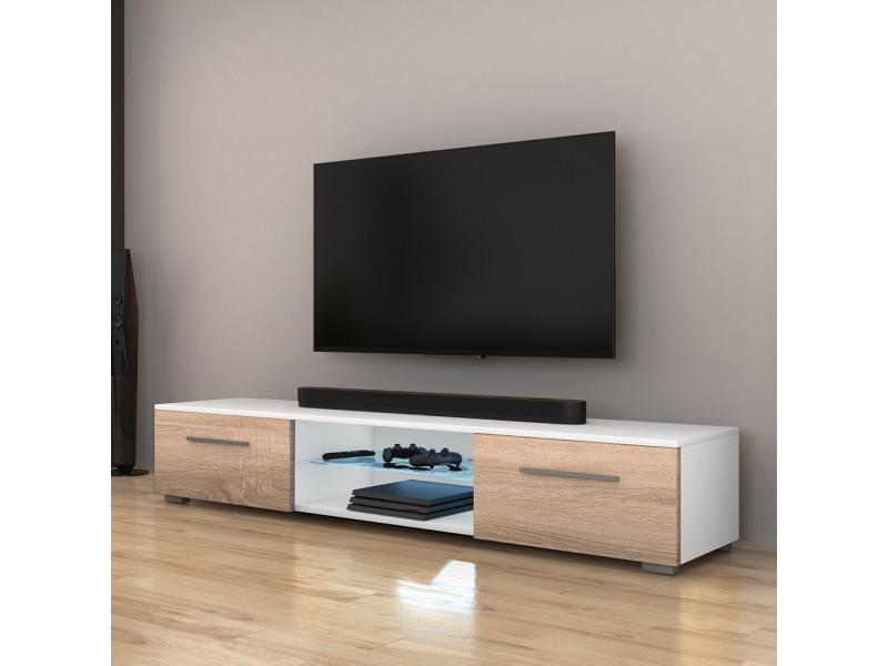 Meuble Tv Syvis 140 Cm Blanc Mat Effet Chene Avec Led Bleue Selsey France Vente De Meuble Tv Conforama