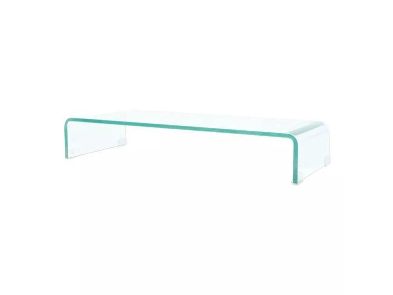 Meuble télé buffet tv télévision design pratique pour moniteur 80 cm verre transparent helloshop26 2502221