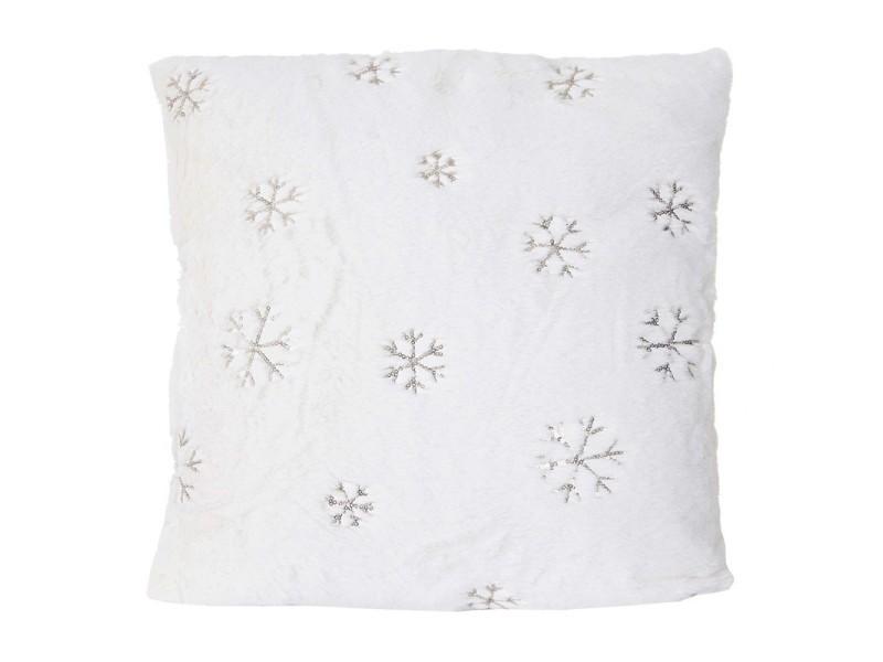 Coussin imitation fourrure blanc avec motif neige pailleté 45x45 cm déhoussable dec04068
