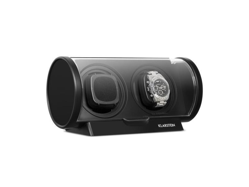 Klarstein lugano remontoir automatique pour 2 montres - 4 modes de rotation - vitrine design noir