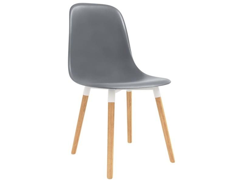 Icaverne chaises de cuisine famille chaises de salle à manger 2 pcs gris plastique