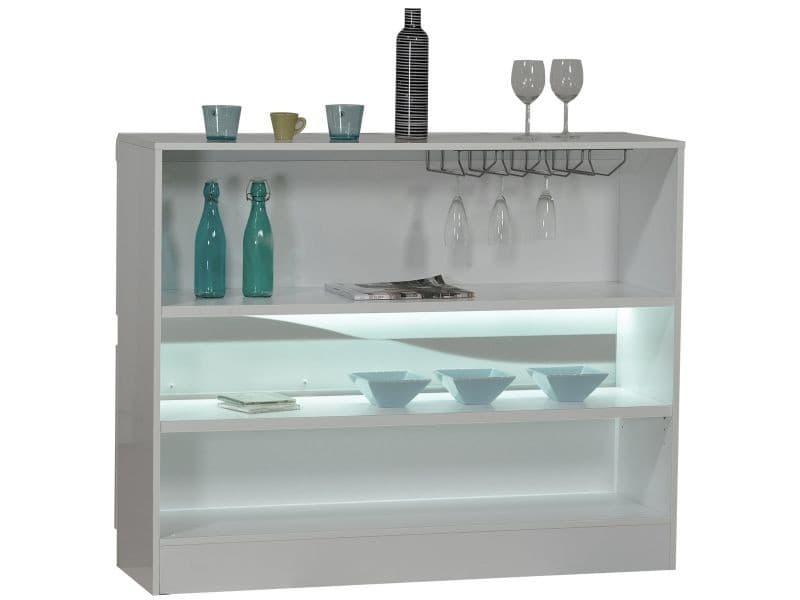 meuble bar blanc laqu design led vente de comforium conforama. Black Bedroom Furniture Sets. Home Design Ideas
