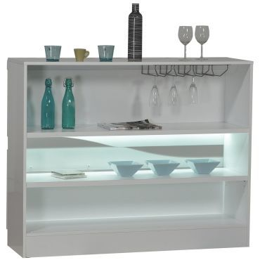 Meuble bar blanc laqu design led vente de bar et for Meuble bar conforama