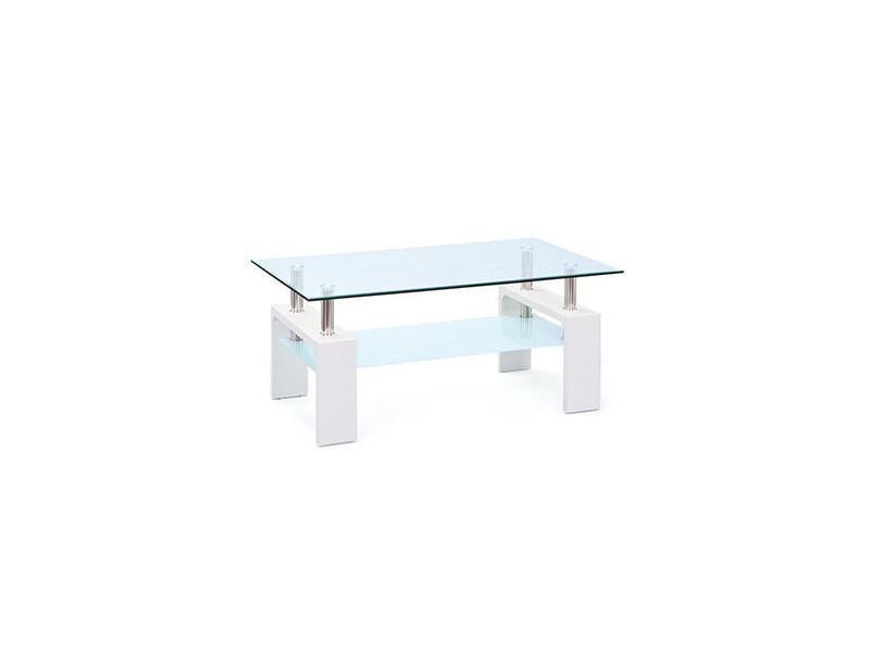Table Basse Double Plateau En Verre Blanc Kimmy Vente De Table