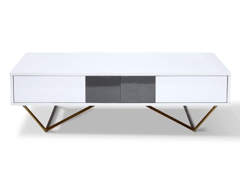 Table basse laqué/acier jazz - blanc/gris/gold - blanc