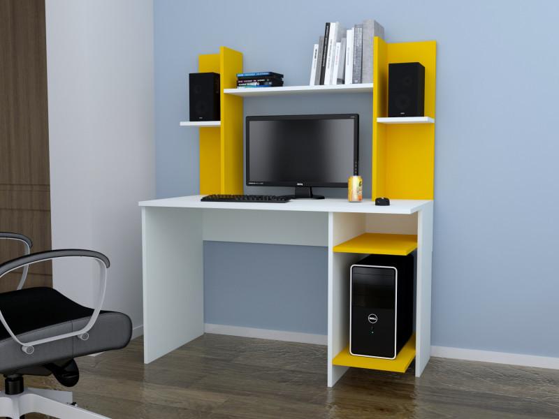 Bureau design jaunty blanc et jaune vente de bureau conforama