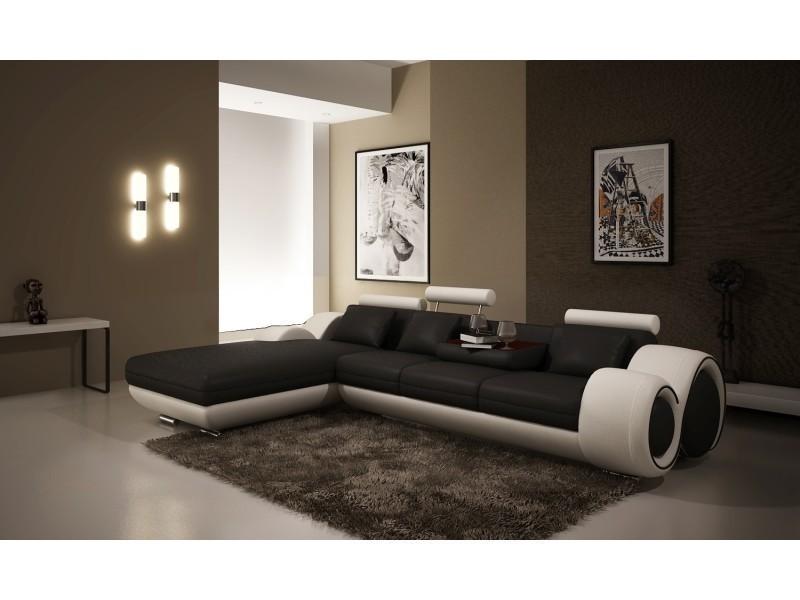 Canapé d'angle avec méridienne noir et blanc oslo (angle gauche)-
