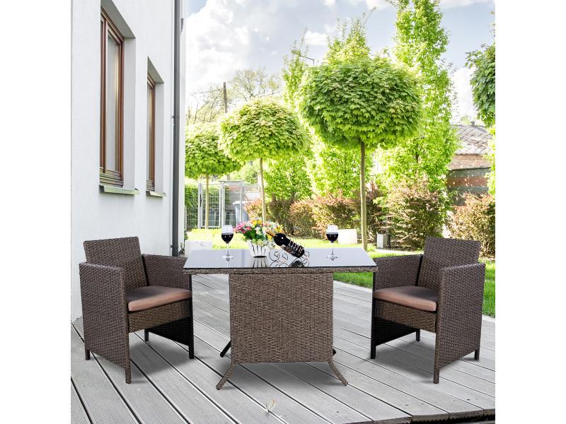 Giantex salon de jardin 2 places en rotin : 2 fauteuils + 1 table avec verre + 2 coussins d'asises brun