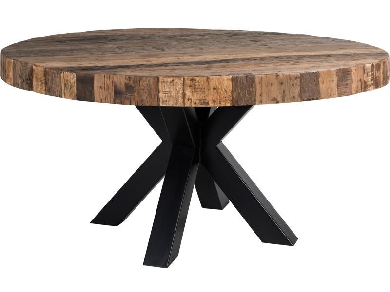Table De Salle A Manger Ronde Contemporaine Coloris Noir Et