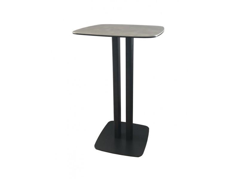 Table haute carré plateau céramique gris - sigma