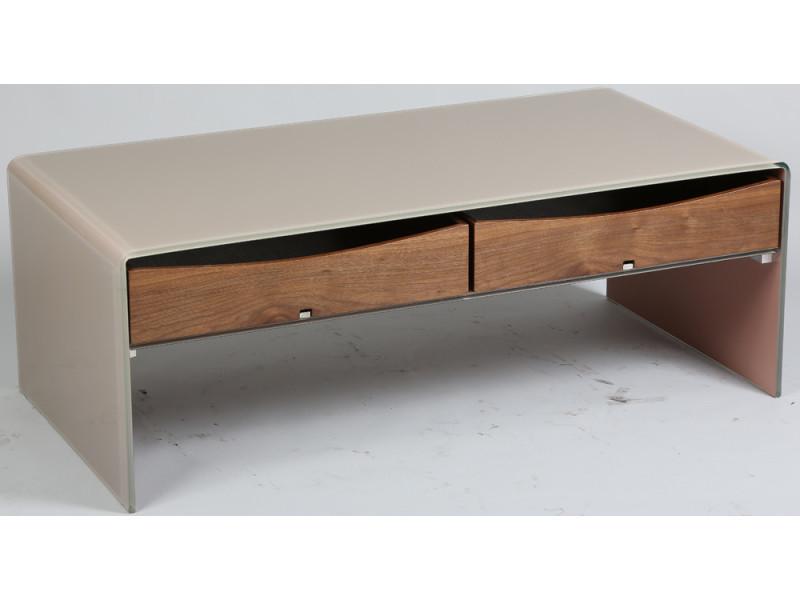 Table basse en verre avec tiroir en mdf, coloris taupe, l1200 x l600 x ht430mm -pegane-
