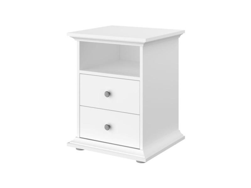 Manon chevet 2 tiroirs blanc - l 45 x p 58 x h 41 cm 3540CH2T