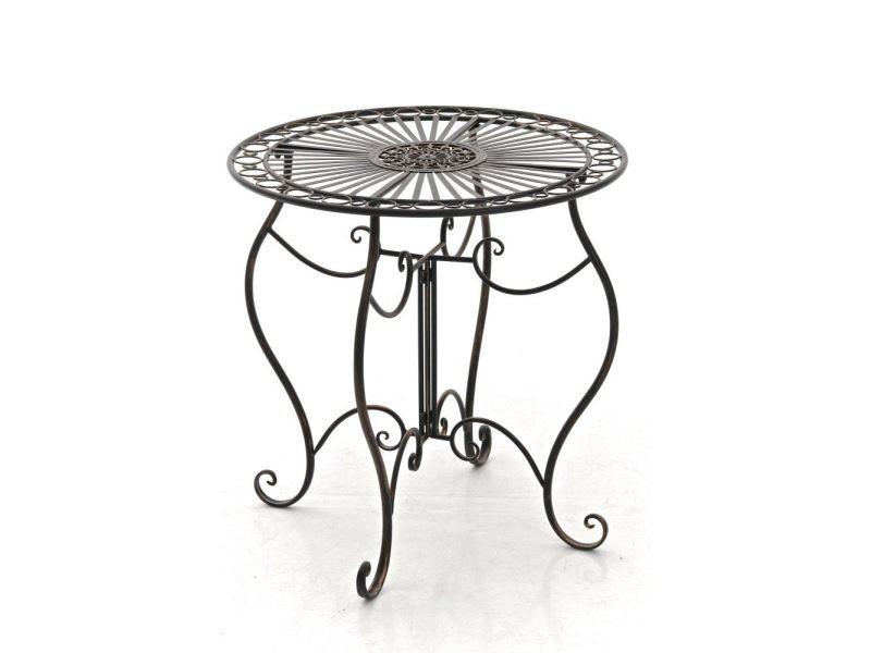 Table de jardin en fer forgé indra ø 70 cm , bronze