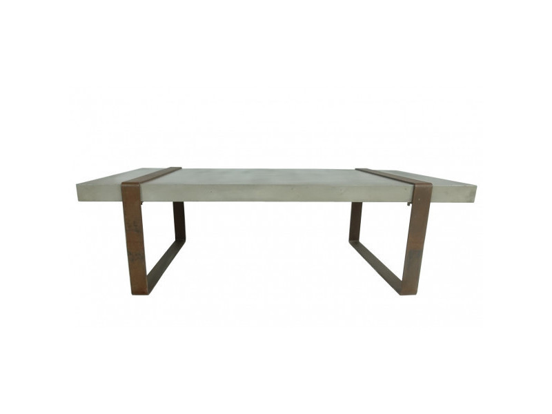 Beton - table basse métal rouille
