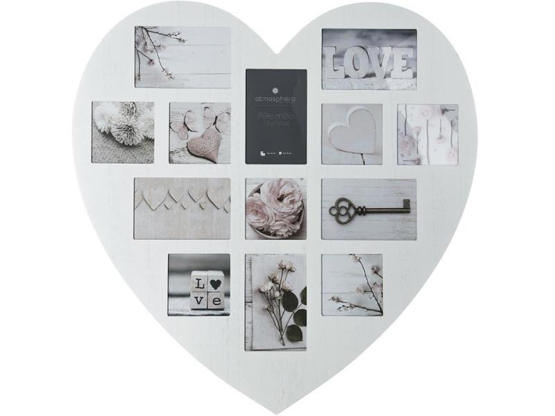 Cadre pêle-mêle patiné coeur - blanc - atmosphera